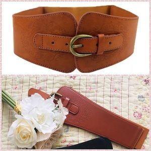 Brown Elastic Etched PU Leather Fashion Cinch Belt